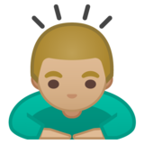 Man Bowing: Medium-Light Skin Tone on Google Android 10.0 March 2020 Feature Drop