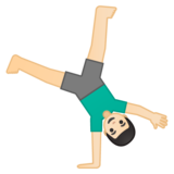 Man Cartwheeling: Light Skin Tone on Google Android 10.0 March 2020 Feature Drop