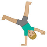 Man Cartwheeling: Medium-Light Skin Tone on Google Android 10.0 March 2020 Feature Drop