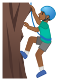 Man Climbing: Medium-Dark Skin Tone on Google Android 10.0 March 2020 Feature Drop