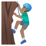 Man Climbing: Medium Skin Tone on Google Android 10.0 March 2020 Feature Drop