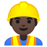 Man Construction Worker: Dark Skin Tone on Google Android 10.0 March 2020 Feature Drop
