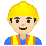 Man Construction Worker: Light Skin Tone on Google Android 10.0 March 2020 Feature Drop