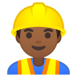 Man Construction Worker: Medium-Dark Skin Tone on Google Android 10.0 March 2020 Feature Drop