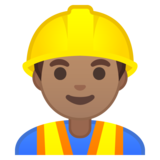 Man Construction Worker: Medium Skin Tone on Google Android 10.0 March 2020 Feature Drop