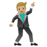 Man Dancing: Medium-Light Skin Tone on Google Android 10.0 March 2020 Feature Drop
