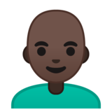 Man: Dark Skin Tone, Bald on Google Android 10.0 March 2020 Feature Drop