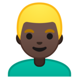 Man: Dark Skin Tone, Blond Hair on Google Android 10.0 March 2020 Feature Drop