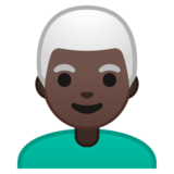 Man: Dark Skin Tone, White Hair on Google Android 10.0 March 2020 Feature Drop