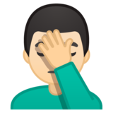 Man Facepalming: Light Skin Tone on Google Android 10.0 March 2020 Feature Drop