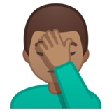 Man Facepalming: Medium Skin Tone on Google Android 10.0 March 2020 Feature Drop