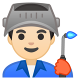 Man Factory Worker: Light Skin Tone on Google Android 10.0 March 2020 Feature Drop