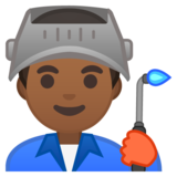 Man Factory Worker: Medium-Dark Skin Tone on Google Android 10.0 March 2020 Feature Drop