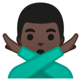 Man Gesturing No: Dark Skin Tone on Google Android 10.0 March 2020 Feature Drop