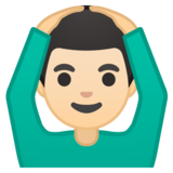 Man Gesturing OK: Light Skin Tone on Google Android 10.0 March 2020 Feature Drop