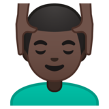 Man Getting Massage: Dark Skin Tone on Google Android 10.0 March 2020 Feature Drop
