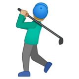 Man Golfing: Medium-Light Skin Tone on Google Android 10.0 March 2020 Feature Drop