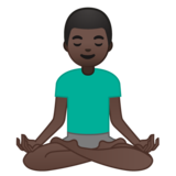 Man in Lotus Position: Dark Skin Tone on Google Android 10.0 March 2020 Feature Drop