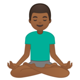 Man in Lotus Position: Medium-Dark Skin Tone on Google Android 10.0 March 2020 Feature Drop