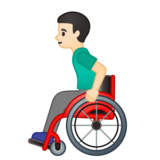 Man in Manual Wheelchair: Light Skin Tone on Google Android 10.0 March 2020 Feature Drop