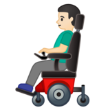 Man in Motorized Wheelchair: Light Skin Tone on Google Android 10.0 March 2020 Feature Drop
