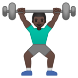 Man Lifting Weights: Dark Skin Tone on Google Android 10.0 March 2020 Feature Drop