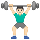 Man Lifting Weights: Light Skin Tone on Google Android 10.0 March 2020 Feature Drop