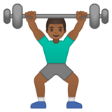 Man Lifting Weights: Medium-Dark Skin Tone on Google Android 10.0 March 2020 Feature Drop