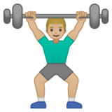 Man Lifting Weights: Medium-Light Skin Tone on Google Android 10.0 March 2020 Feature Drop