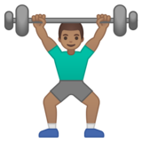 Man Lifting Weights: Medium Skin Tone on Google Android 10.0 March 2020 Feature Drop