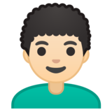Man: Light Skin Tone, Curly Hair on Google Android 10.0 March 2020 Feature Drop