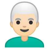 Man: Light Skin Tone, White Hair on Google Android 10.0 March 2020 Feature Drop