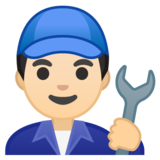 Man Mechanic: Light Skin Tone on Google Android 10.0 March 2020 Feature Drop