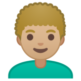 Man: Medium-Light Skin Tone, Curly Hair on Google Android 10.0 March 2020 Feature Drop