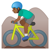 Man Mountain Biking: Medium-Dark Skin Tone on Google Android 10.0 March 2020 Feature Drop