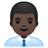 Man Office Worker: Dark Skin Tone on Google Android 10.0 March 2020 Feature Drop