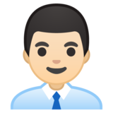 Man Office Worker: Light Skin Tone on Google Android 10.0 March 2020 Feature Drop