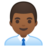Man Office Worker: Medium-Dark Skin Tone on Google Android 10.0 March 2020 Feature Drop