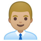 Man Office Worker: Medium-Light Skin Tone on Google Android 10.0 March 2020 Feature Drop