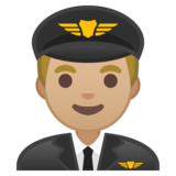 Man Pilot: Medium-Light Skin Tone on Google Android 10.0 March 2020 Feature Drop