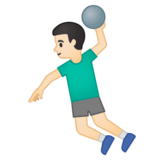 Man Playing Handball: Light Skin Tone on Google Android 10.0 March 2020 Feature Drop