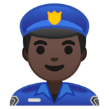 Man Police Officer: Dark Skin Tone on Google Android 10.0 March 2020 Feature Drop