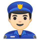 Man Police Officer: Light Skin Tone on Google Android 10.0 March 2020 Feature Drop
