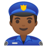 Man Police Officer: Medium-Dark Skin Tone on Google Android 10.0 March 2020 Feature Drop