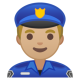 Man Police Officer: Medium-Light Skin Tone on Google Android 10.0 March 2020 Feature Drop