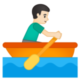 Man Rowing Boat: Light Skin Tone on Google Android 10.0 March 2020 Feature Drop