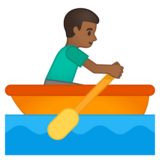 Man Rowing Boat: Medium-Dark Skin Tone on Google Android 10.0 March 2020 Feature Drop