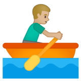 Man Rowing Boat: Medium-Light Skin Tone on Google Android 10.0 March 2020 Feature Drop
