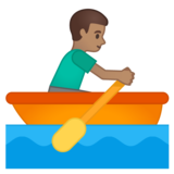 Man Rowing Boat: Medium Skin Tone on Google Android 10.0 March 2020 Feature Drop
