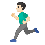 Man Running: Light Skin Tone on Google Android 10.0 March 2020 Feature Drop